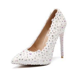 Hermoso Marfil Zapatos de novia 2019 Rhinestone Con Encaje Flor 11 cm Stilettos / Tacones De Aguja Punta Estrecha Boda Tacones
