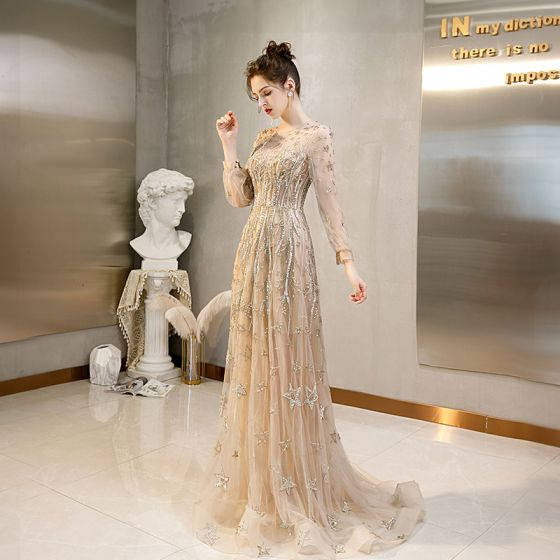 High-end Gold Beading Evening Dresses  2020 A-Line / Princess Scoop Neck Rhinestone Long Sleeve Sweep Train Formal Dresses