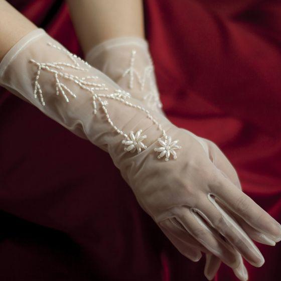 Elegancka Fantastyczny Białe Rękawiczki Ślubne 2020 Tiulowe Wykonany Ręcznie Frezowanie Perła Bal Ślub Akcesoria