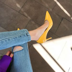Chic / Beautiful Yellow Office OL Pumps 2020 Patent Leather 8 cm Stiletto Heels Pointed Toe Pumps