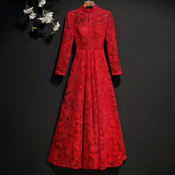 Piękne Czerwone Sukienki Wieczorowe 2017 Princessa Z Koronki Haftowane Kryształ Cekiny Wycięciem Długie Rękawy Długość Kostki Sukienki Wizytowe
