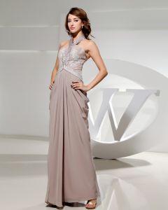 Halfter Ärmellose Bodenlange Reißverschluss Rüschen Chiffon- Silk Frau Abendkleid