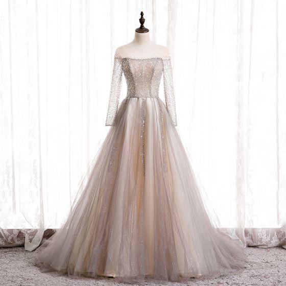 Uroczy Szampan Taniec Sukienki Na Bal 2020 Princessa Przezroczyste Wycięciem Długie Rękawy Frezowanie Cekinami Tiulowe Trenem Sweep Wzburzyć Bez Pleców Sukienki Wizytowe