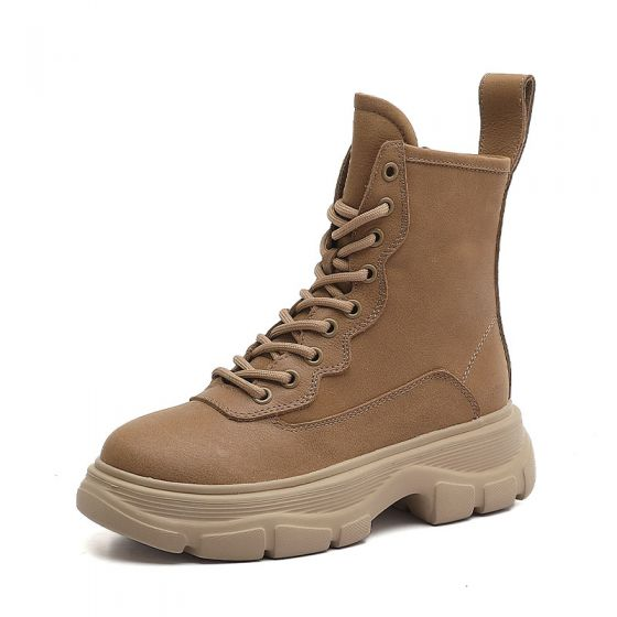 Mode Schöne Winter Tan Strassenmode Leder Stiefel Damen 2020 Ankle Boots Runde Zeh Stiefel