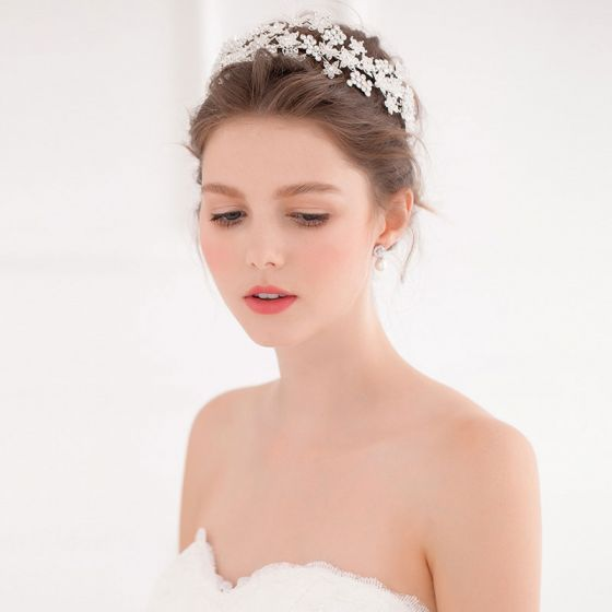 Exclusieve Diamanten Haarband / Triple Parel Haarspeld / Bruids Hoofdtooi