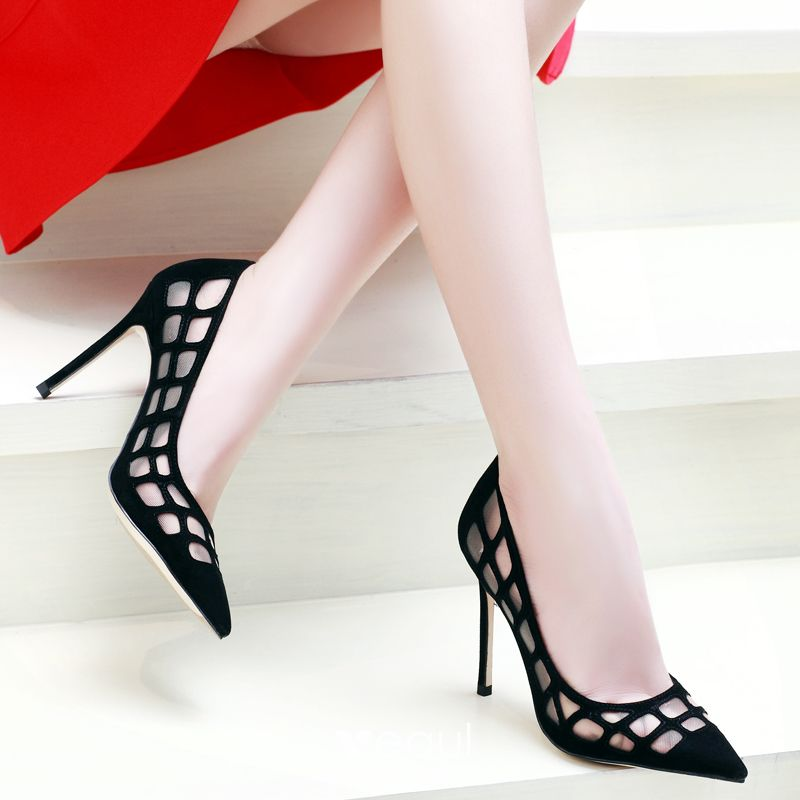 Chic / Beautiful 2017 8 cm / 3 inch Black Casual Cocktail Party Evening Party Leather Summer Pierced High Heels Stiletto Heels Open / Peep Toe Pumps