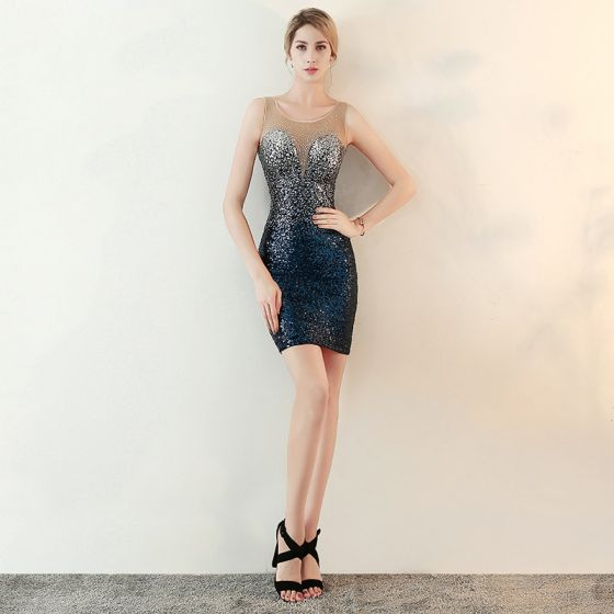 Sparkly Navy Blue Sequins See-through Party Dresses 2018 Trumpet / Mermaid Scoop Neck Sleeveless Rhinestone Short Formal Dresses