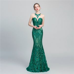 Chic / Beautiful Dark Green Sequins Evening Dresses  2020 Trumpet / Mermaid See-through Scoop Neck Sleeveless Floor-Length / Long Backless Formal Dresses