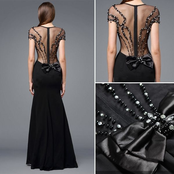 2016 Stunning Scoop Neckline Backless Beading Rhinestone Black Silk Evening Dress