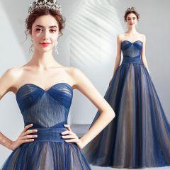 Elegant Navy Blue Prom Dresses 2019 A-Line / Princess Sweetheart Sleeveless Backless Court Train Formal Dresses