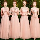 Affordable Pearl Pink Bridesmaid Dresses 2019 A-Line / Princess Appliques Lace Sash Floor-Length / Long Ruffle Backless Wedding Party Dresses