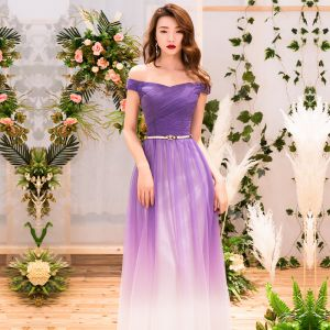 Schöne Violett Farbverlauf Abendkleider 2019 A Linie Off Shoulder Kurze Ärmel Rückenfreies Lange Festliche Kleider