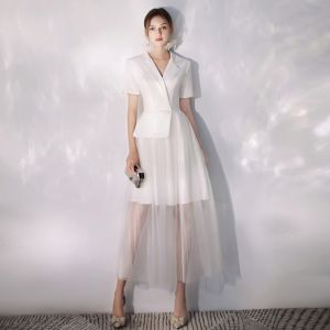 Elegant Ivory Evening Dresses  2019 A-Line / Princess V-Neck Short Sleeve Ankle Length Formal Dresses