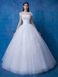 2016 Schöne Halsausschnitt Kurzen Ärmeln Applique Blumen Strass Glitter Organza Hochzeitskleid