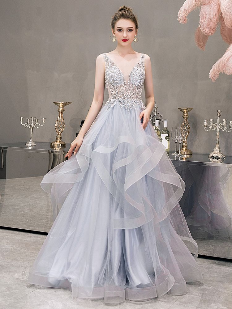Illusion Grey See-through Evening Dresses  2019 A-Line / Princess Deep V-Neck Sleeveless Beading Pearl Rhinestone Floor-Length / Long Cascading Ruffles Backless Formal Dresses