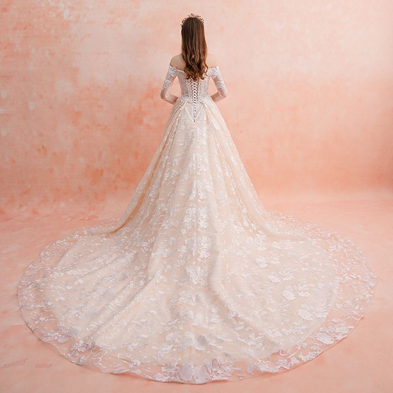 Elegant Champagne Wedding Dresses 2019 A-Line / Princess Off-The-Shoulder Long Sleeve Backless Pierced Appliques Lace Beading Cathedral Train Ruffle