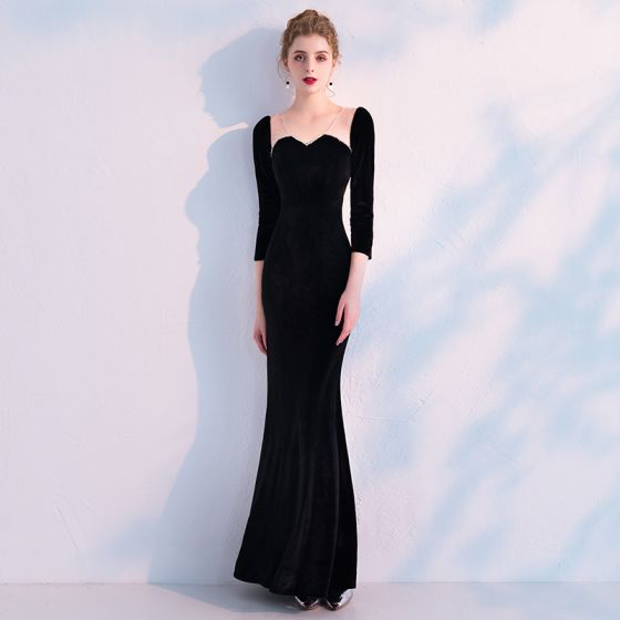 Stylowe / Modne Czarne Przezroczyste Sukienki Wieczorowe 2019 Syrena / Rozkloszowane V-Szyja 3/4 Rękawy Frezowanie Długość Kostki Wzburzyć Sukienki Wizytowe