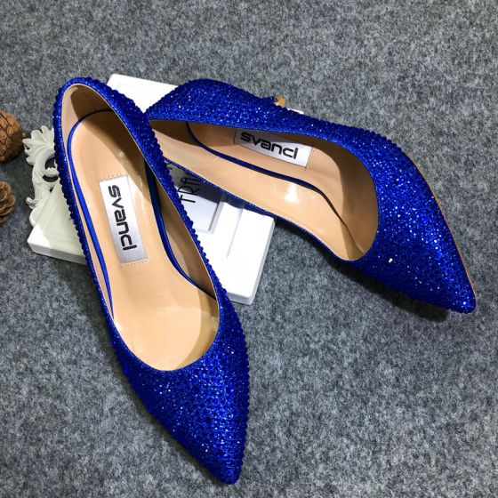 Modern / Fashion Royal Blue Evening Party Pumps 2020 Sequins 9 cm Stiletto Heels Pointed Toe Pumps