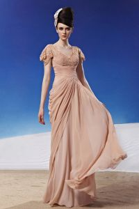 V Cou De Perles Fleur De Longueur De Plancher En Mousseline De Soie Robe De Soirée De Femme