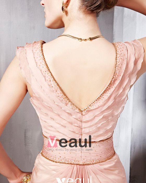 Beaded Ruffle Silk Charmeuse V Neck Floor Length Evening Dresses