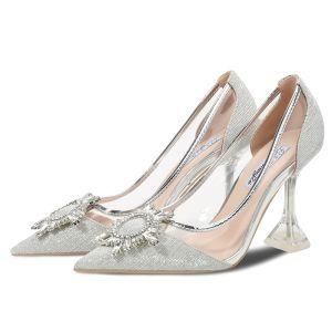 Sexy Zilveren Straatkleding Glans Pumps 2020 Kristal Rhinestone 9 cm Naaldhakken / Stiletto Spitse Neus Pumps