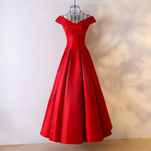 Chic / Beautiful Red Evening Dresses  2017 A-Line / Princess V-Neck Sleeveless Ankle Length Evening Party