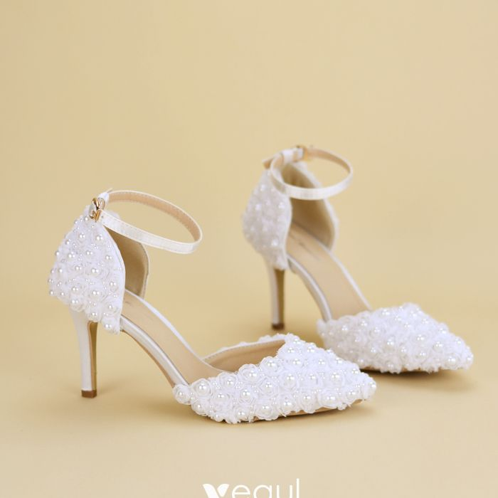 c3b49cb293 Chic / Beautiful White Wedding Shoes 2019 Pearl Lace Ankle Strap 6 ...
