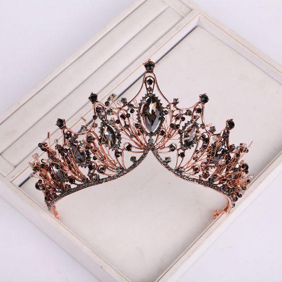 Vintage Barocke Schwarz Tiara 2019 Metall Perlenstickerei Strass Haarschmuck Braut