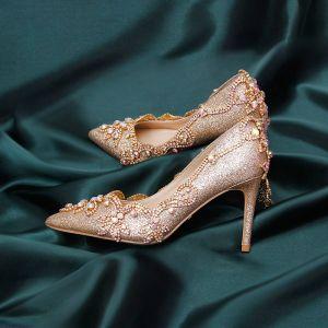 Brillante Champán Rhinestone Zapatos de novia 2020 Cuero Glitter Lentejuelas 9 cm Stilettos / Tacones De Aguja Punta Estrecha Boda Tacones