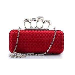 Grote Schedel Ring Zak Doos-weave Zijde Fashion Diner Clutch Tas Bag