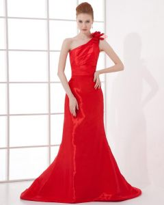 Mode Satijn Geplooid Bloem Hellende Vloer Lengte Rode Lange Jurk Avondjurk