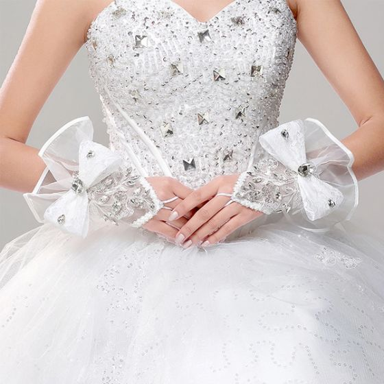 White Satin With Lace Fingerless Bridal Gloves