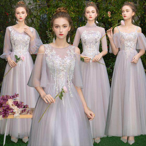 3d3c2f021a Elegantes Gris Rosa Clara Transparentes Vestidos De Damas De Honor 2019 A- Line   Princess Apliques Con Encaje ...