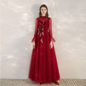 Vintage / Retro Red See-through Evening Dresses  2020 A-Line / Princess High Neck Long Sleeve Appliques Sequins Beading Floor-Length / Long Ruffle Backless Formal Dresses