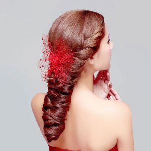 Red Lace Bridal Headpieces / Head Flower / Butterfly Wedding Hair Accessories / Wedding Jewelry