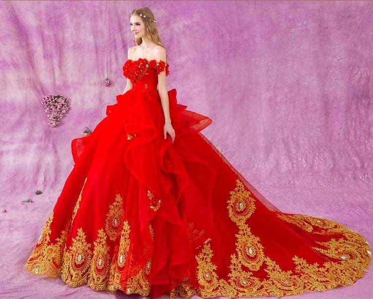 Beautiful Gold Wedding Dresses: Chic / Beautiful Red Gold Cascading Ruffles Wedding