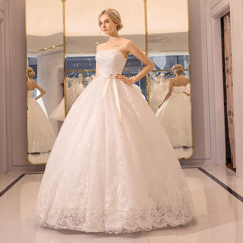 Chic / Beautiful Hall Wedding Dresses 2017 White Ball Gown Floor-Length / Long Strapless Sleeveless Backless Pearl Lace Appliques Rhinestone Sash