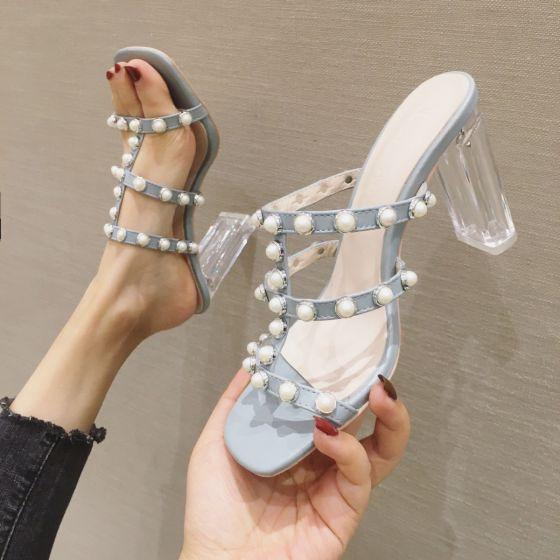 Charmant Hemelsblauw Toevallig Parel Sandalen Dames 2020 9 cm Dikke Hak Peep Toe Sandalen