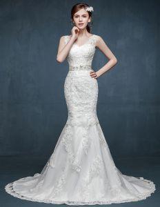 2015 Die Braut Doppelt Schulter V-ausschnitt Gurte Fischschwanz Hochzeitskleid War Dünn Slim Modelle