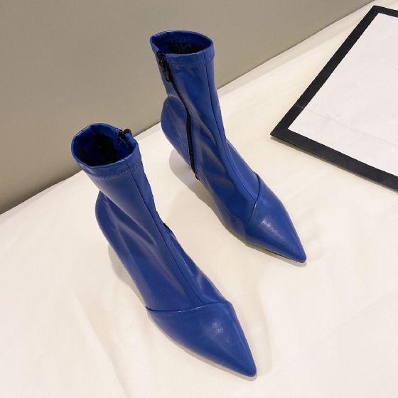 Mote Gateklær Kongeblå Ankel Kvinners støvler 2021 7 cm Stiletthæler Spisse Boots