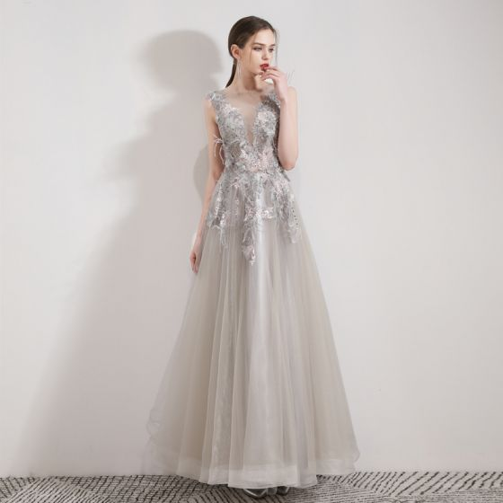 Illusion Grey Organza Evening Dresses  2019 A-Line / Princess See-through Deep V-Neck Sleeveless Appliques Lace Rhinestone Feather Floor-Length / Long Ruffle Backless Formal Dresses