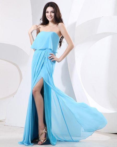 Elegante En Mousseline A Volants Bretelles Parole Robe De Fete De Soirée De Longueur