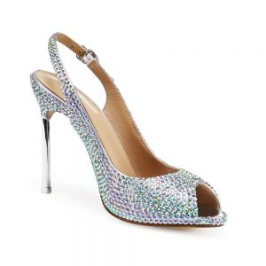 Sexy Multi-Colors Evening Party Womens Sandals 2020 Leather Rhinestone 10 cm Stiletto Heels Open / Peep Toe Sandals