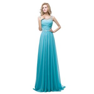 Chic / Beautiful Jade Green Chiffon Evening Dresses  2018 A-Line / Princess See-through Scoop Neck Sleeveless Rhinestone Sash Sweep Train Ruffle Backless Formal Dresses