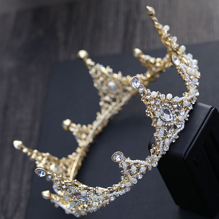Luxury / Gorgeous Gold Metal Accessories 2018 Crystal Rhinestone Beading Pearl Tiara Earrings Bridal Jewelry