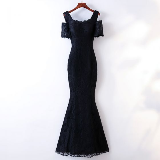 Chic / Beautiful Navy Blue Evening Dresses  2017 Trumpet / Mermaid Lace Square Neckline Strapless Short Sleeve Ankle Length Evening Party
