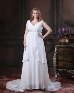 Plus Size V-Neck Chiffon Beading Chapel Train Floor Length Wedding Dresses