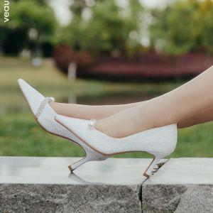 Glitzernden Ivory / Creme Brautschuhe 2020 Leder Glanz Pailletten Perle 7 cm Stilettos Spitzschuh Hochzeit Pumps