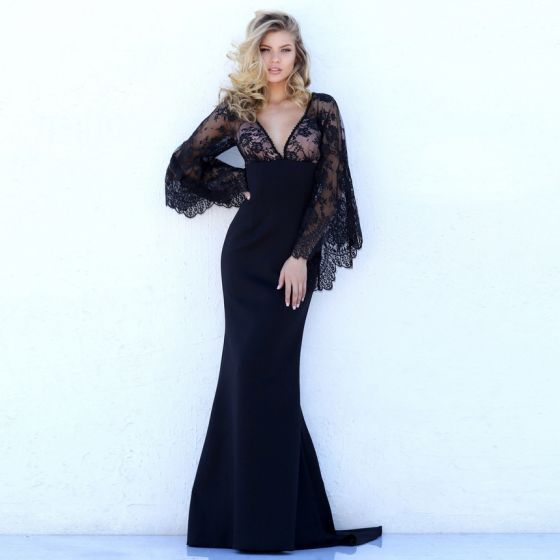 Sexy Black See-through Maxi Dresses 2018 Trumpet / Mermaid V-Neck Long Sleeve Appliques Lace Sweep Train Backless Womens Clothing