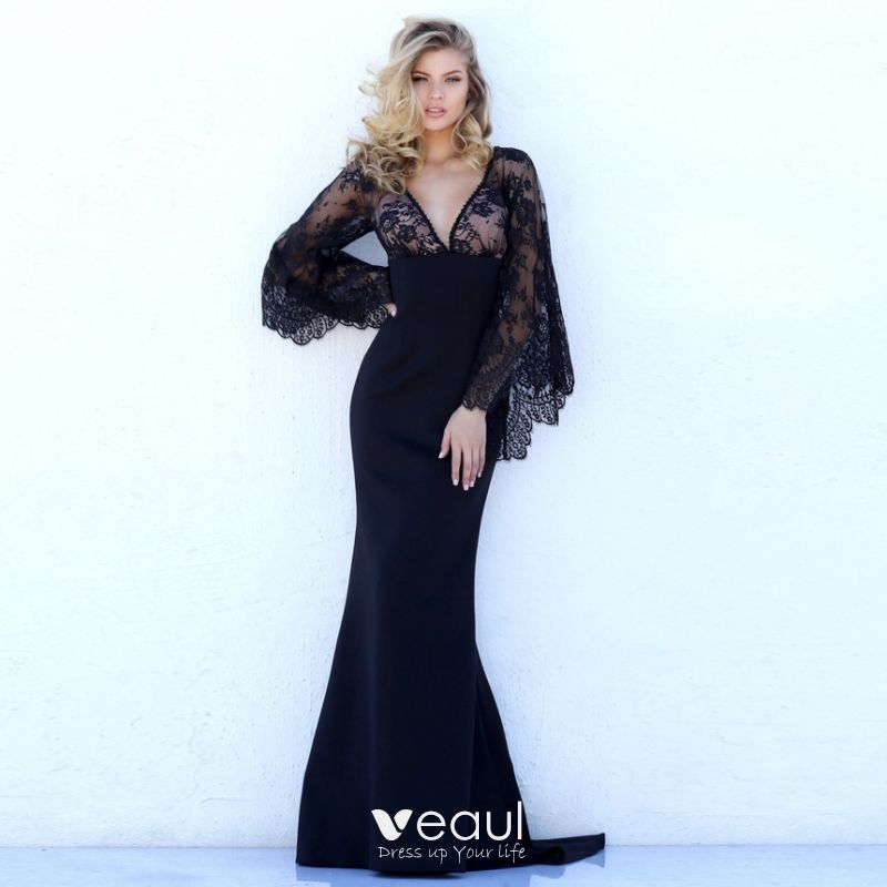 Sexy Black See Through Maxi Dresses 2018 Trumpet Mermaid V Neck Long Sleeve Appliques Lace Sweep Train Backless Womens Clothing